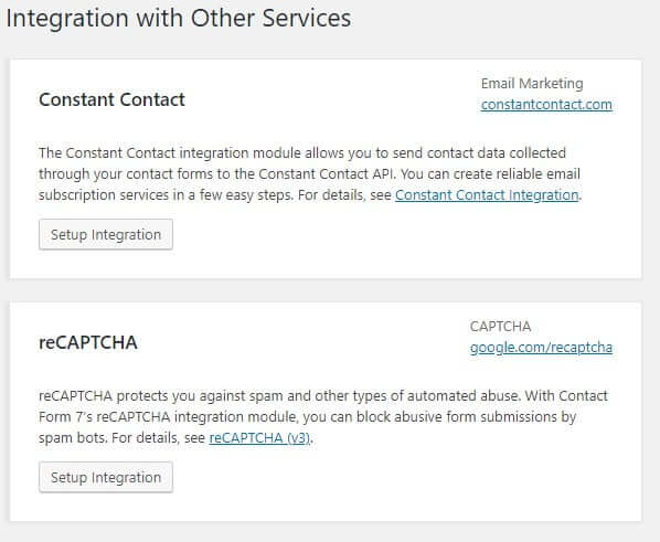 Contact form 7 integration settings