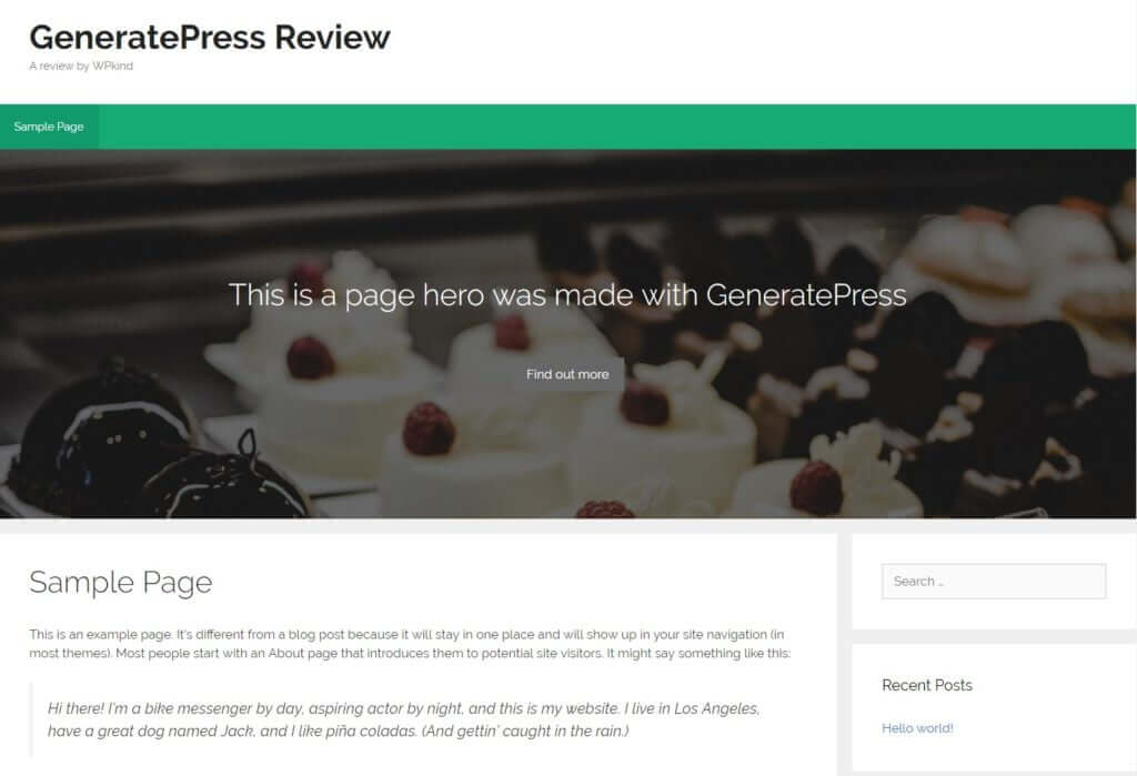 GeneratePress hero with call to action
