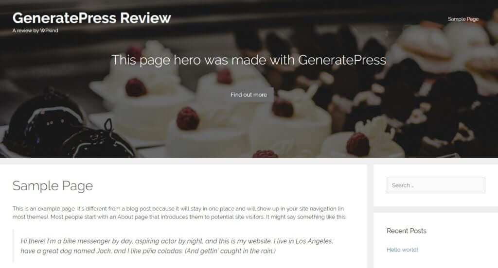 GeneratePress page hero merged with header