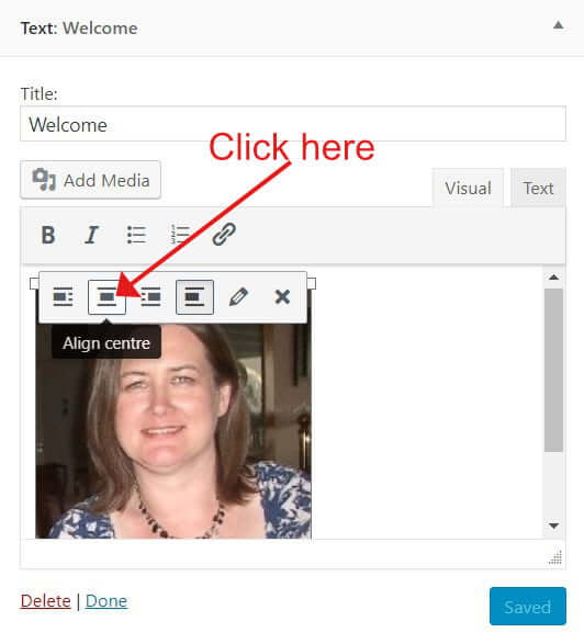 Centre align the widget image