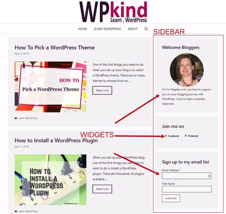 WPkind sidebar showing WordPress Widgets