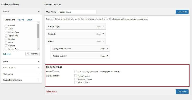 WordPress menu settings