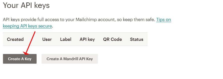 Mailchimp for WordPress - Create API Key