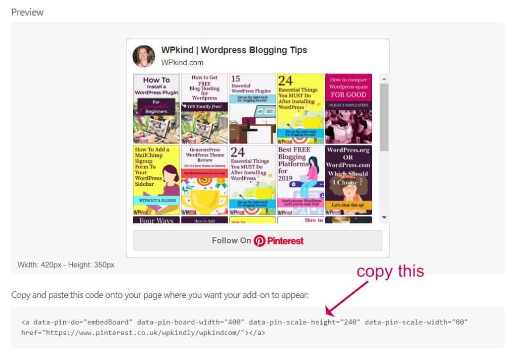 Pinterest widget code