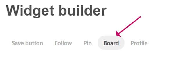 Select Pinterest board tab