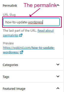How to update the WordPress permalink