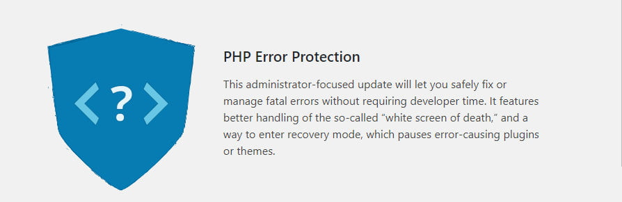 WordPress 5.2 PHP error protection