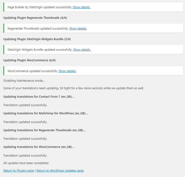 WordPress plugin updates complete