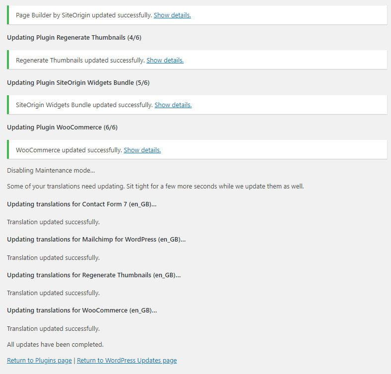 WordPress plugin updates complete