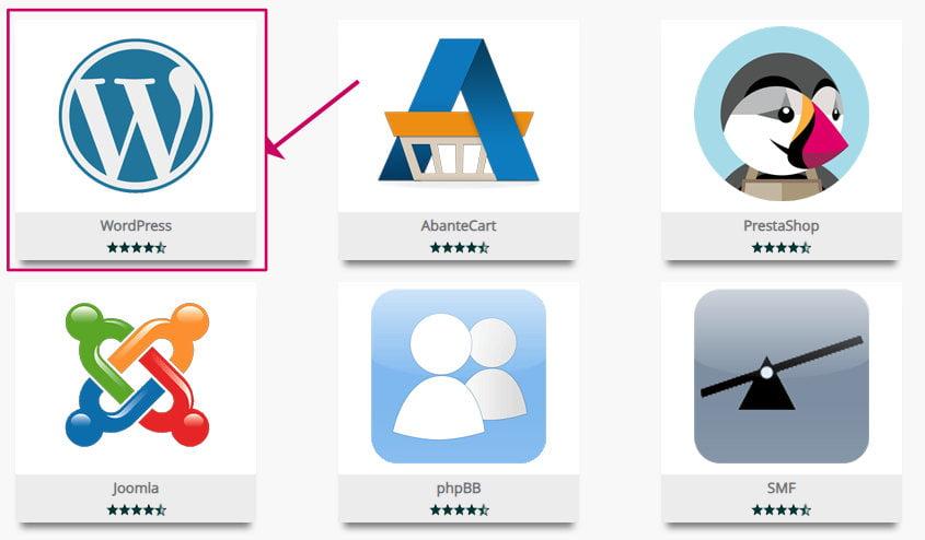 WordPress Icon in Softaculous