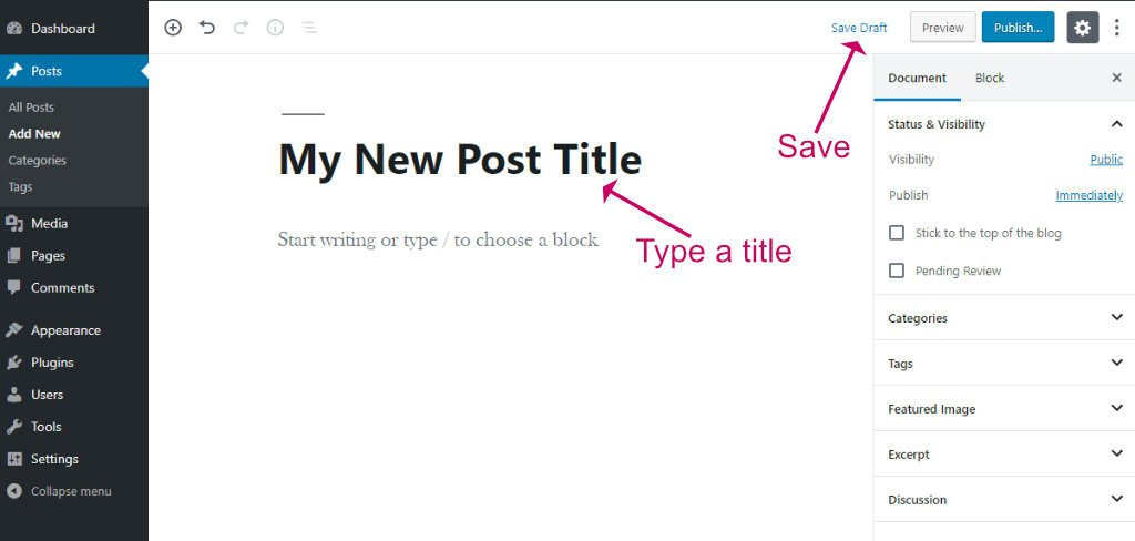 WordPress block editor add new post