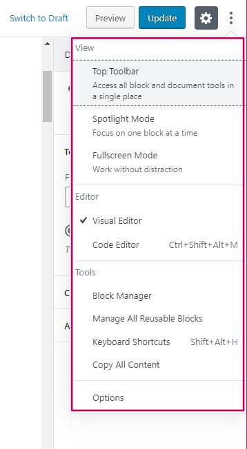 WordPress block editor options