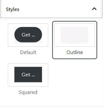 WordPress button block styles