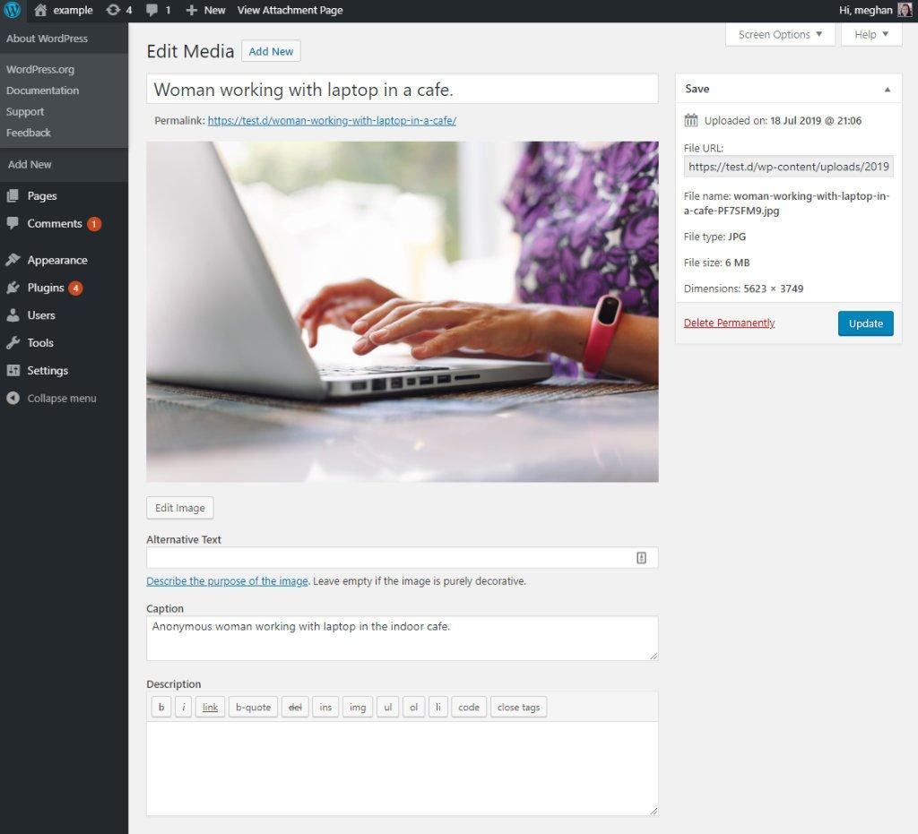 WordPress edit media screen