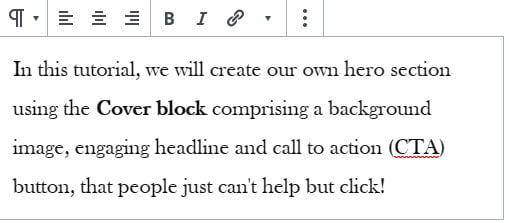 WordPress paragraph block with toolbar