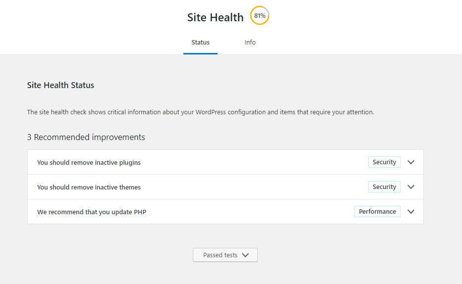 WordPress site health