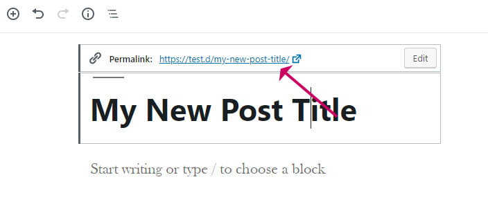 Wordpress block editor update permalink