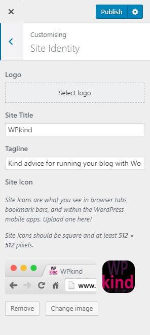 Site identity in WordPress customiser