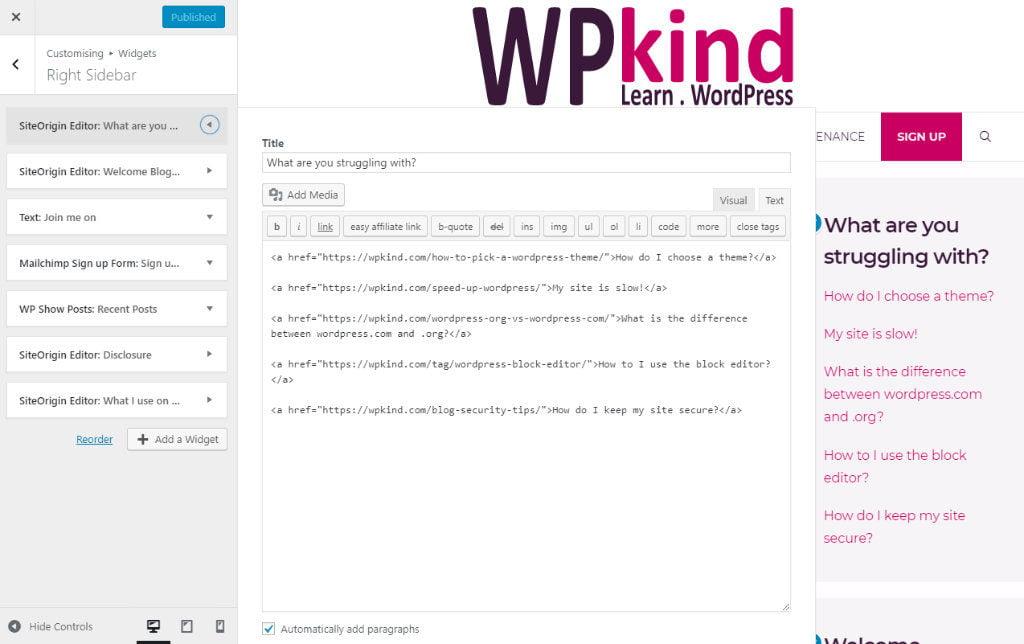Using the WordPress customiser to edit the right sidebar