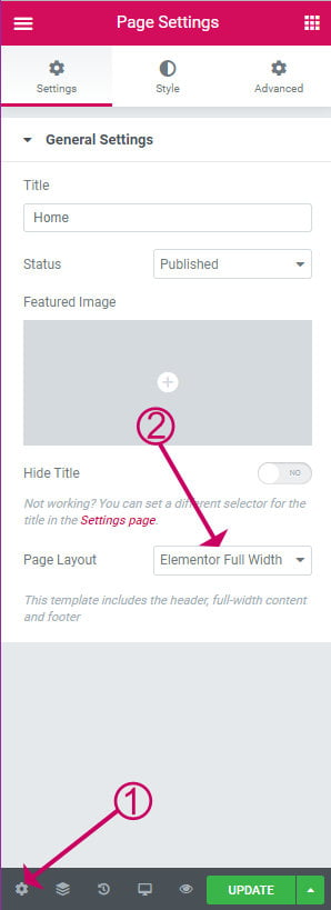 Elementor page layout setting
