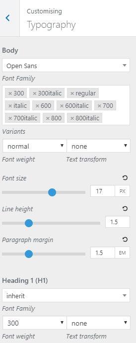GeneratePress typography settings