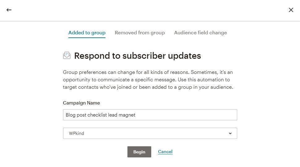 MailChimp automated mail setup