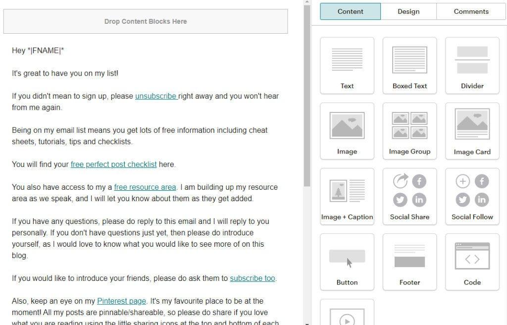 MailChimp edit email content