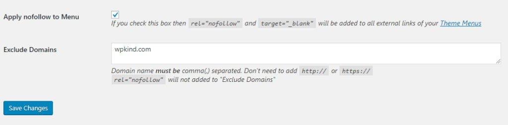 Nofollow for external link plugin settings