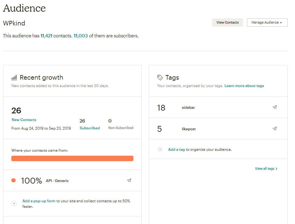 Start a mailing list with Mailchimp audience overview