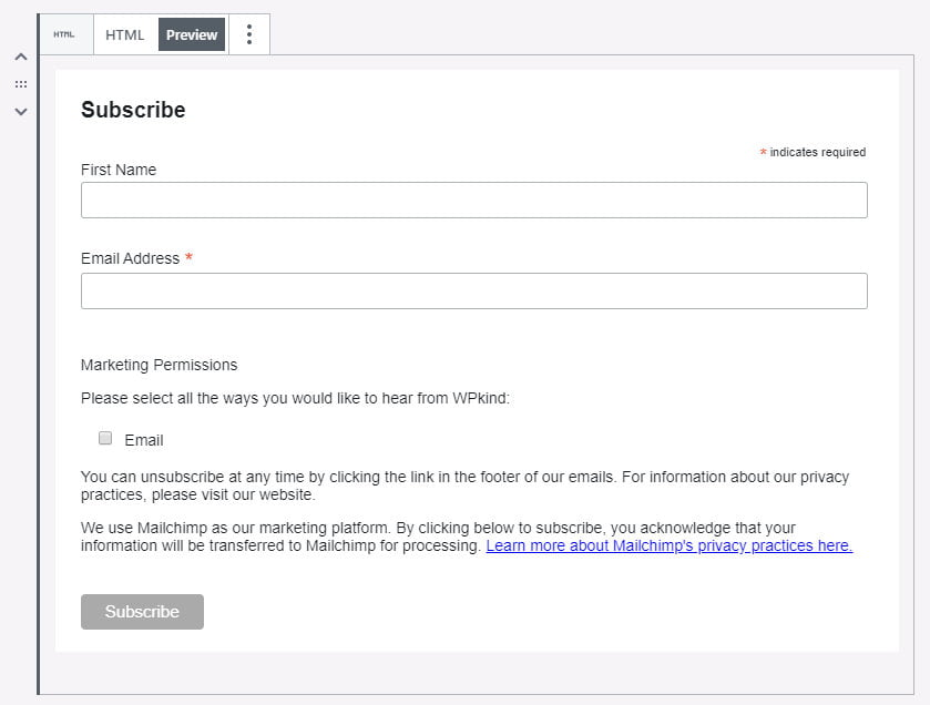 Start a mailing list with Mailchimp form preview