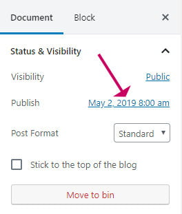 Update the published date in WordPress