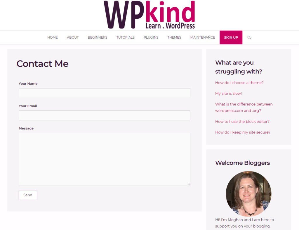 WordPress contact page