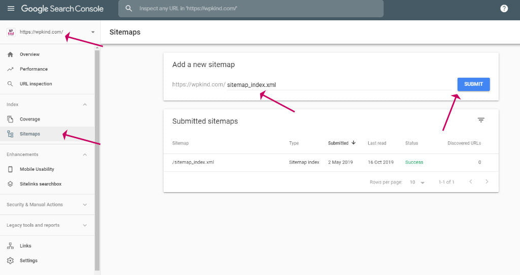 Submit sitemap to Google Search Console
