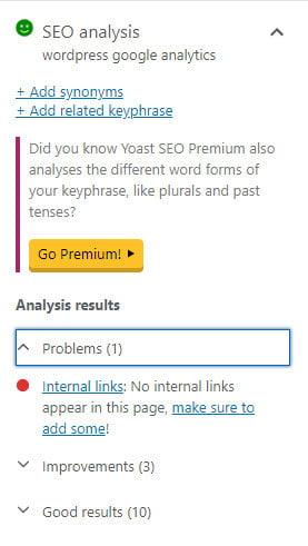 Yoast SEO Plugin Analysis results