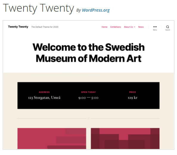 WordPress TwentyTwenty theme