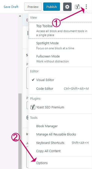 WordPress block editor options