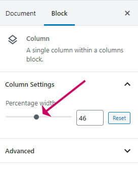 WordPress column block - setting the width