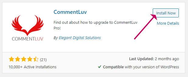 Install CommentLuv plugin