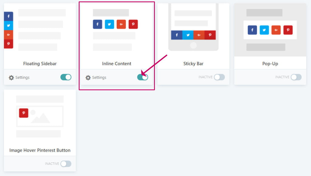 Grow social pro inline content option
