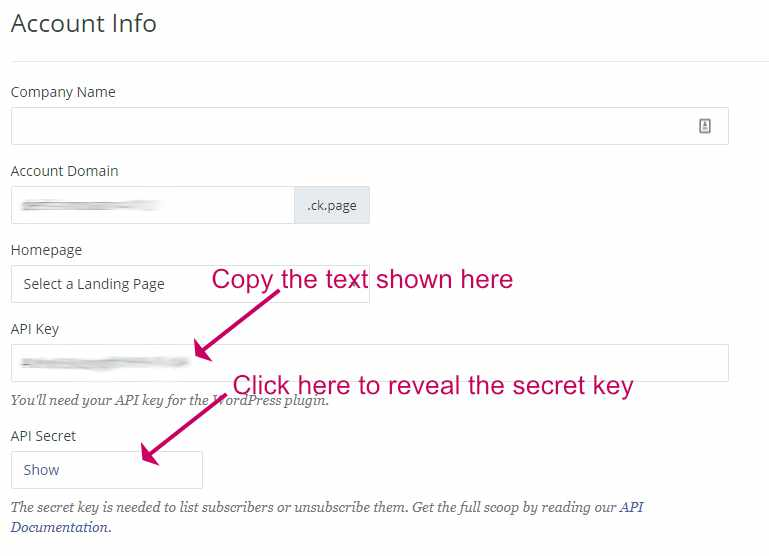 Copy the ConvertKit API code and secret key