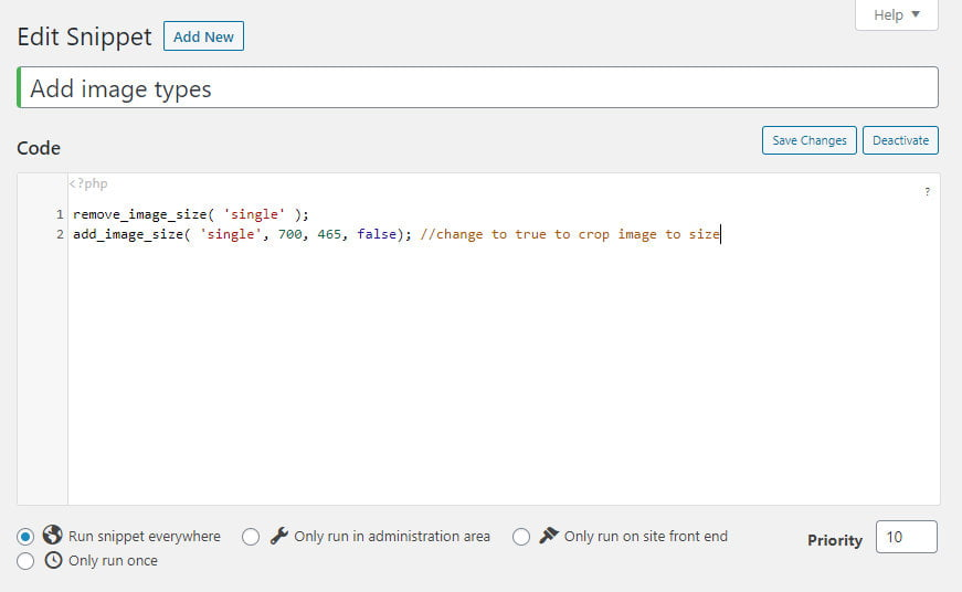 Adding image sizes with the code snippets plugin