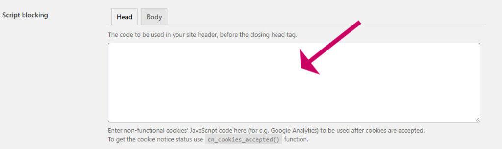 How to add google analytics script to cookie notice plugin