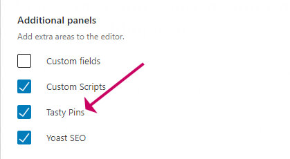 WordPress additional panels