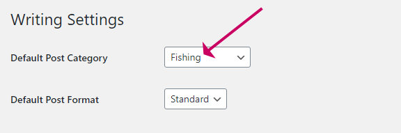 how to change the default category in wordpress