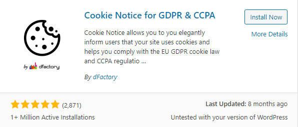 Cookie notice for GDPR and CCPA plugin by dFactory