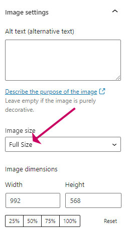 Full size image selection in wordpress