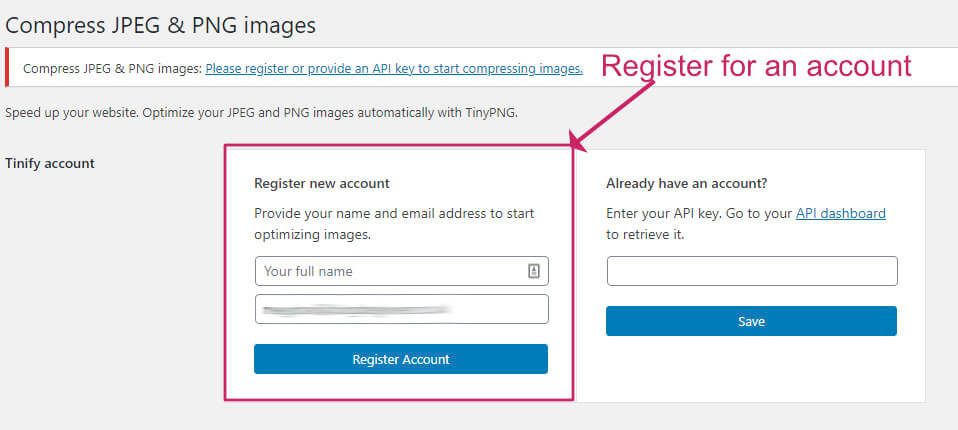 register for a tinypng account