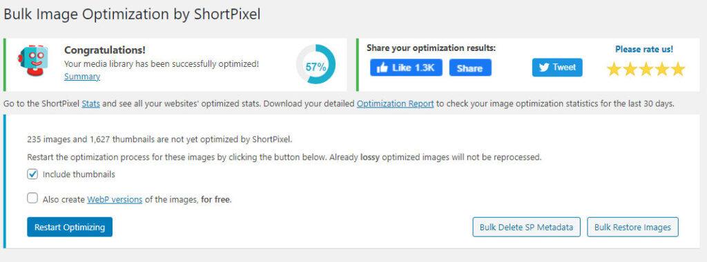 bulk optimize shortpixel