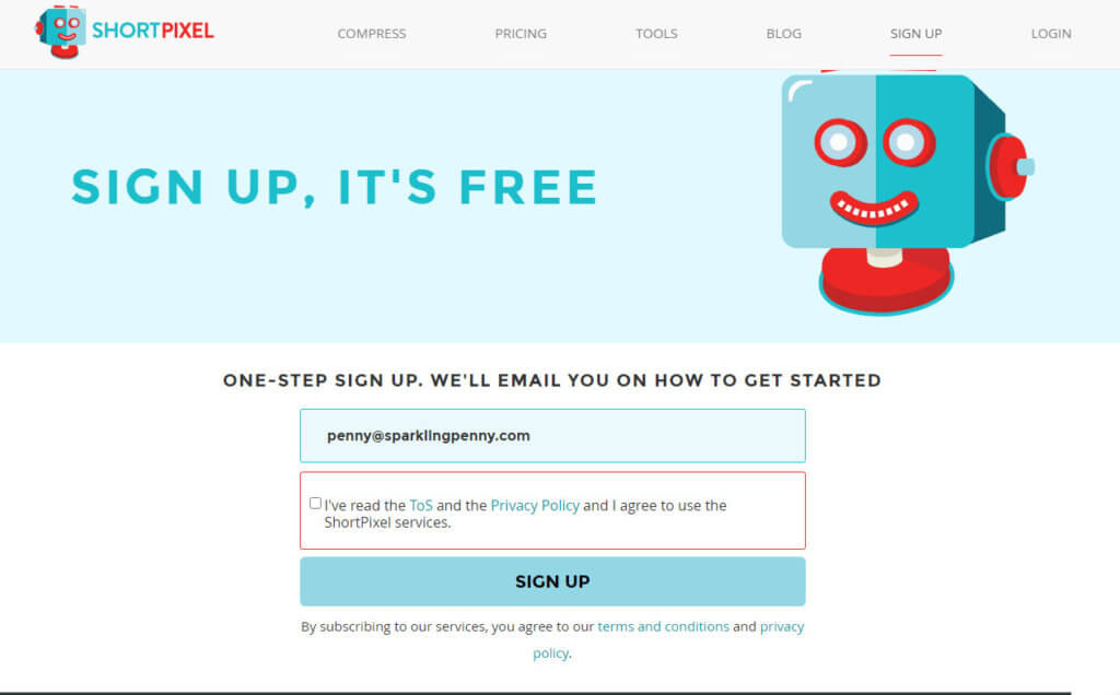 shortpixel sign up page