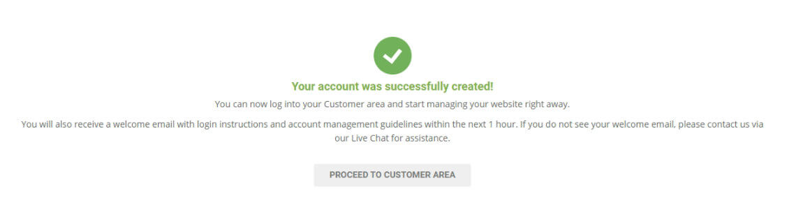 siteground account successfully created